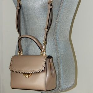 MICHAEL KORS SCALLOPED FLAP LEATHER XS CROSSBODY